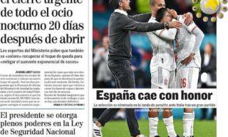 La prima pagina del quotidiano El Mundo dopo Italia-Spagna