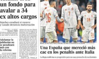 La prima pagina del quotidiano El Pais dopo Italia-Spagna