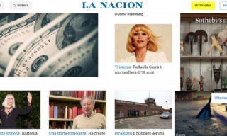La notizia della morte di Raffaella Carrà su La Nacion