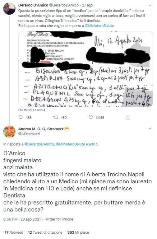 Il post in cui il giornalista Gerardo D'amico denuncia la prescrizione del dentista Stramezzi