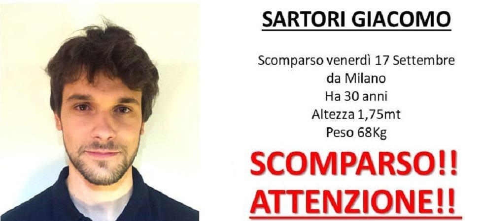 Trovata nel Pavese l'auto di Giacomo Sartori, il 30enne scomparso da Milano cinque giorni fa