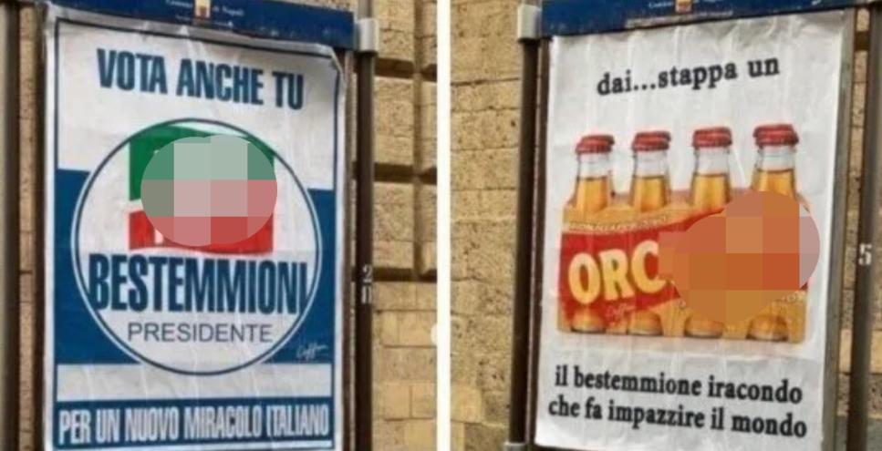 A Napoli spunta la campagna contro la censura religiosa: bestemmie e frasi blasfeme sui cartelloni pubblicitari