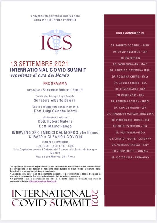 La locandina dell'International Covid Summit 2021 svoltati in Senato